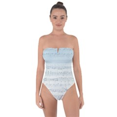 Vintage Blue Music Notes Tie Back One Piece Swimsuit
