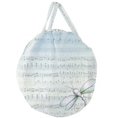 Vintage Blue Music Notes Giant Round Zipper Tote
