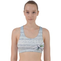 Vintage Blue Music Notes Back Weave Sports Bra by Celenk