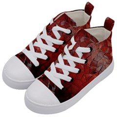 Pattern Backgrounds Abstract Red Kid s Mid Top Canvas Sneakers by Celenk