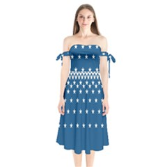 Patriot Shoulder Tie Bardot Midi Dress by jumpercat