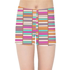 Color Grid 02 Kids Sports Shorts