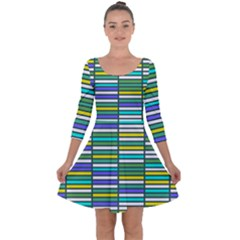 Color Grid 03 Quarter Sleeve Skater Dress