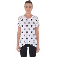 Black Pixel Skull Pirate Cut Out Side Drop Tee