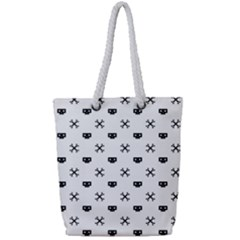 Black Pixel Skull Pirate Full Print Rope Handle Tote (small) by jumpercat
