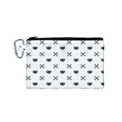 Black Pixel Skull Pirate Canvas Cosmetic Bag (small) by jumpercat