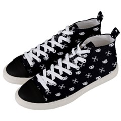 White Pixel Skull Pirate Men s Mid Top Canvas Sneakers by jumpercat