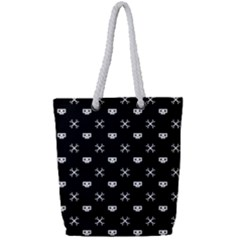 White Pixel Skull Pirate Full Print Rope Handle Tote (small) by jumpercat