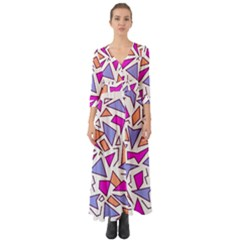 Retro Shapes 03 Button Up Boho Maxi Dress by jumpercat