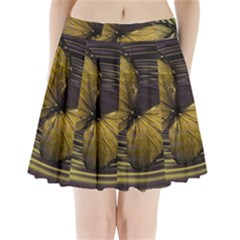 Butterfly Insect Wave Concentric Pleated Mini Skirt