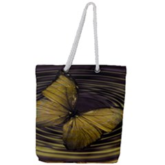 Butterfly Insect Wave Concentric Full Print Rope Handle Tote (large)