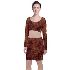 Abstract Flames Fire Hot Long Sleeve Crop Top & Bodycon Skirt Set by Celenk