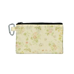 Floral Wallpaper Flowers Vintage Canvas Cosmetic Bag (small) by Celenk