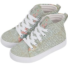 Vintage Floral Background Paper Kid s Hi-top Skate Sneakers by Celenk