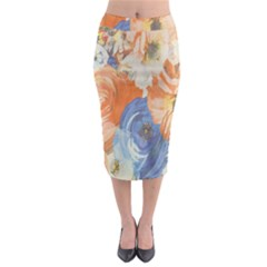 Texture Fabric Textile Detail Midi Pencil Skirt by Celenk