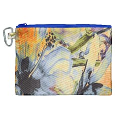 Flower Texture Pattern Fabric Canvas Cosmetic Bag (xl) by Celenk