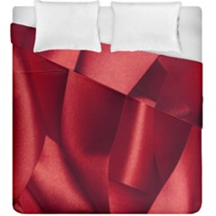 Red Fabric Textile Macro Detail Duvet Cover Double Side (king Size)