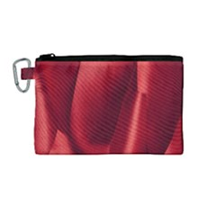 Red Fabric Textile Macro Detail Canvas Cosmetic Bag (medium) by Celenk