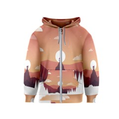 Design Art Hill Hut Landscape Kids  Zipper Hoodie