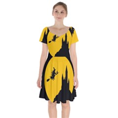 Castle Cat Evil Female Fictional Short Sleeve Bardot Dress by Celenk