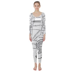 Brain Chart Diagram Face Fringe Long Sleeve Catsuit