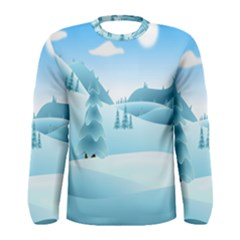 Landscape Winter Ice Cold Xmas Men s Long Sleeve Tee
