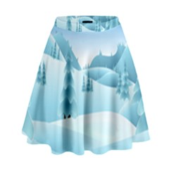 Landscape Winter Ice Cold Xmas High Waist Skirt