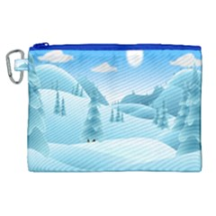 Landscape Winter Ice Cold Xmas Canvas Cosmetic Bag (xl) by Celenk