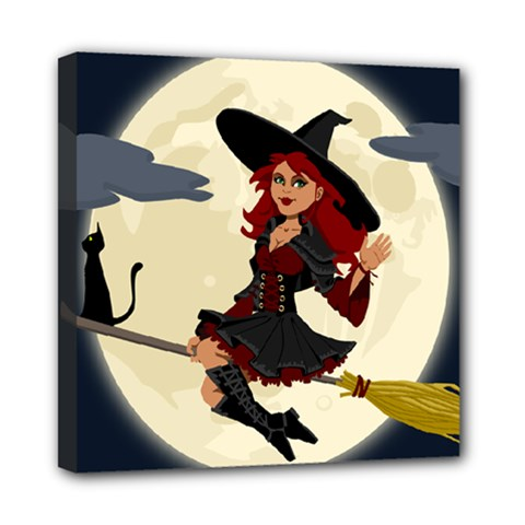 Witch Witchcraft Broomstick Broom Mini Canvas 8  X 8  by Celenk