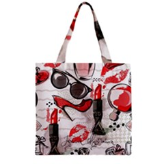 Cosmetic Pattern Grocery Tote Bag by allthingseveryday