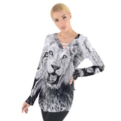 Lion Wildlife Art And Illustration Pencil Tie Up Tee by Celenk
