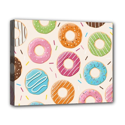 Colored Doughnuts Pattern Deluxe Canvas 20  X 16   by allthingseveryday
