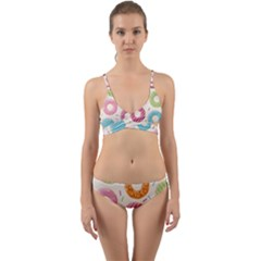Colored Doughnuts Pattern Wrap Around Bikini Set by allthingseveryday