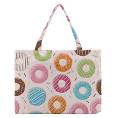 Colored Doughnuts Pattern Zipper Medium Tote Bag by allthingseveryday