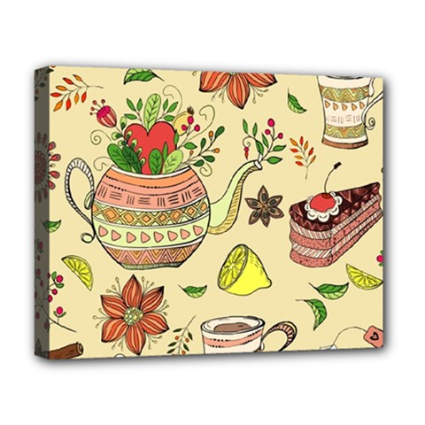 Colored Afternoon Tea Pattern Deluxe Canvas 20  X 16   by allthingseveryday