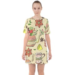 Colored Afternoon Tea Pattern Sixties Short Sleeve Mini Dress by allthingseveryday