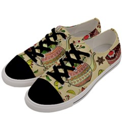 Colored Afternoon Tea Pattern Men s Low Top Canvas Sneakers by allthingseveryday
