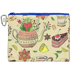 Colored Afternoon Tea Pattern Canvas Cosmetic Bag (xxl) by allthingseveryday