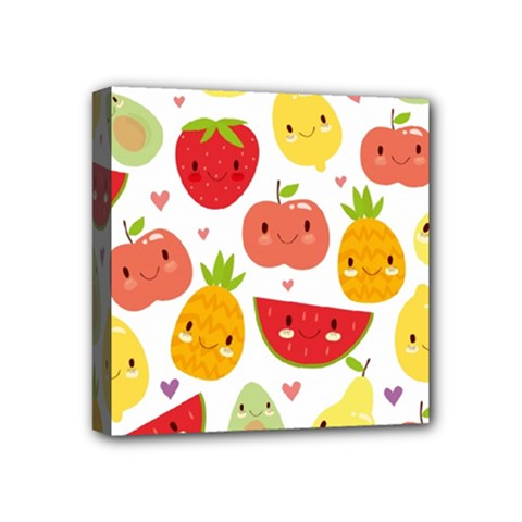 Happy Fruits Pattern Mini Canvas 4  X 4  by allthingseveryday