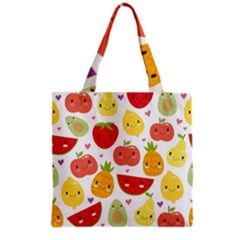 Happy Fruits Pattern Grocery Tote Bag by allthingseveryday