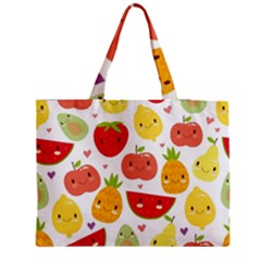 Happy Fruits Pattern Zipper Medium Tote Bag by allthingseveryday