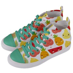 Happy Fruits Pattern Women s Mid Top Canvas Sneakers by allthingseveryday