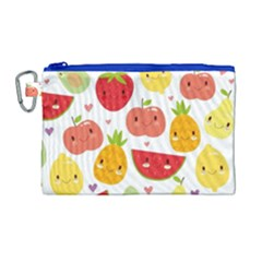 Happy Fruits Pattern Canvas Cosmetic Bag (large) by allthingseveryday