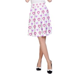 Pixel Hearts A Line Skirt by jumpercat