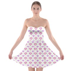 Pixel Hearts Strapless Bra Top Dress