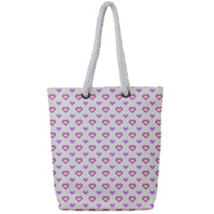 Pixel Hearts Full Print Rope Handle Tote (small) by jumpercat