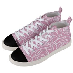Pink Peonies Men s Mid Top Canvas Sneakers by 8fugoso