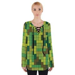 Tetris Camouflage Forest Tie Up Tee