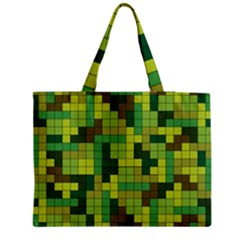 Tetris Camouflage Forest Zipper Medium Tote Bag by jumpercat