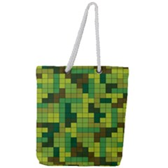 Tetris Camouflage Forest Full Print Rope Handle Tote (large) by jumpercat